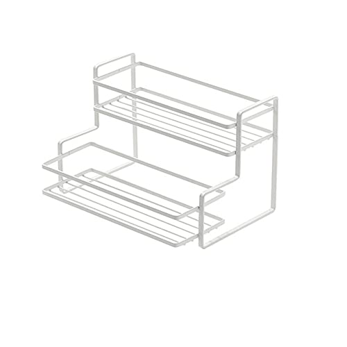 YunNasi Estante de almacenamiento para encimera de cocina, estante para especias de 2 niveles, organizador de cocina, estante multifuncional para baño, cocina, lavadero, despensa y oficina (blanco)