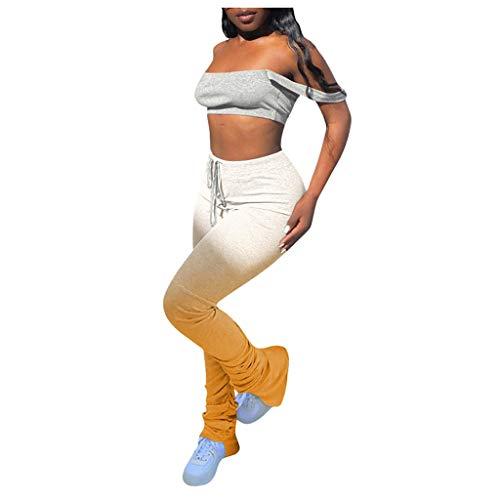 VEFSU Women Leggings Sweatpants Super Long Pants Split Pleats Dance Pants Basics Sweatpants Sport Leggings Opaque Long Sports Pants(Yellow,XL)