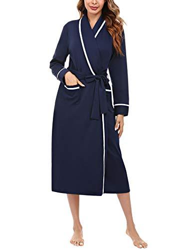 Aibrou Robe de Chambre Femme Coton Peignoir Femme Long Leger Manches Longues Col V avec Ceinture Peignoir de Bain Femme Poches Latérales Bleu Marine L