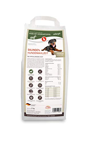 SALiNGO Premium Trockenfutter für Hunde | Hundefutter trocken Pferd mit Süßkartoffel | getreidefrei | Hoher Fleischanteil | Single Protein | hypoallergen