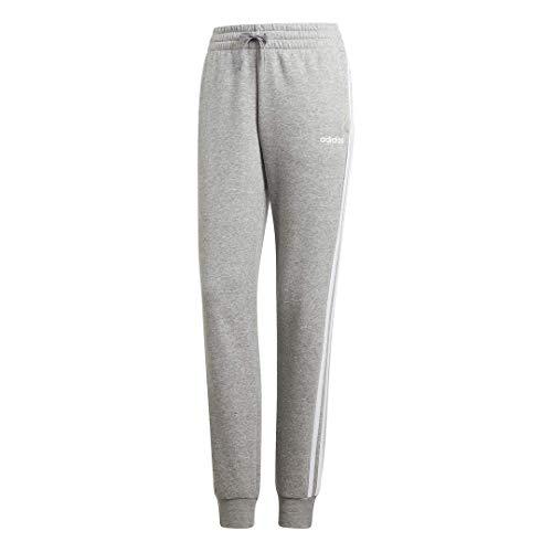 adidas Damen Essentials 3-Streifen Fleece Jogginghose, Damen, Unterhose, Essentials 3-Stripes Fleece Pants, Medium Grey Heather/White, Small