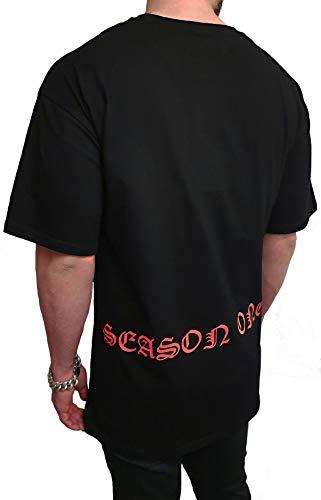 Oversize Sweat à capuche à manches longues Basic Deep pour homme avec col long et col montant blanc et noir - Noir - XL