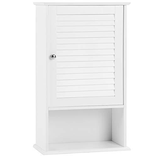 Tangkula Medicine Cabinet Wall Mounted Bathroom Cabinet Single Door Wooden Bathroom Wall Cabinet with Adjustable Shelf