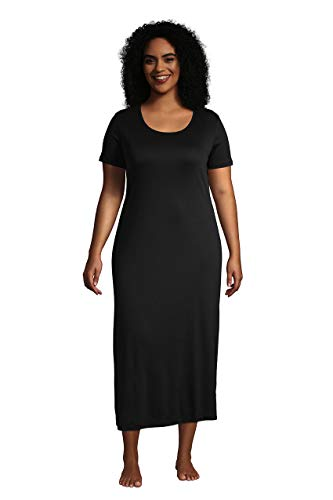 Lands' End Women's Short Sleeve Supima Cotton Midcalf Nightgown Black Petite X-Small