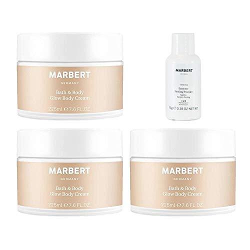 Marbert Bath & Body Glow Body Cream 3 x 225 ml + Marbert Enzyme Peeling Puder 10 g Gratis