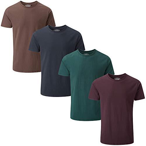 Charles Wilson Herren 4er Packung Elastan-T-Shirts mit Rundhalsausschnitt (Large, Dark Essentials 64)