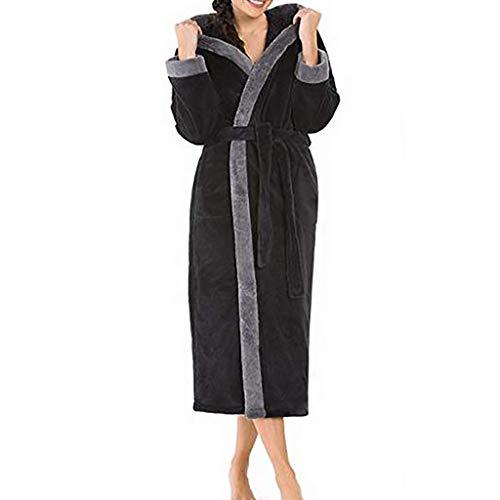 Battnot Damen bademantel mit kapuze winter warme verdicken plã¼sch oversize langarm patchwork morgenmantel mit gã¼rtel, frauen hooded saunamantel schlafanzug pyjama damen bathrobe s xxxxxl 3xl grau