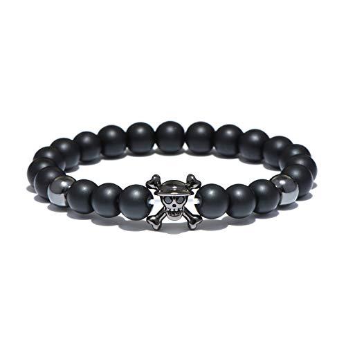 Zozu Anime One Piece Strand Bead Bracelet Cool Skull Natural Stone Beads Bracelets & Bangles For Men Women Hand Jewelry Bileklik (Black)