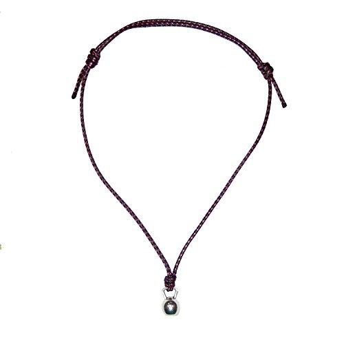 Colgante Kettlebell con cordón Encerado de Color Negro y Rosa. Regalo San Valentin Enamorados