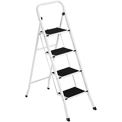 Best Choice Products 4-Step Portable Folding Heavy-Duty Steel Ladder w/Hand Rail, Wide Platform Steps, 330lbs Capacity