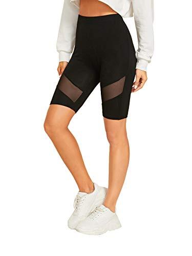 SweatyRocks Women's Yoga Short Leggings Mesh Insert Stretchy Mid Thigh Black L