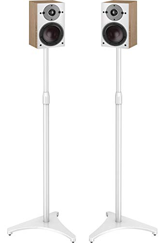 PERLESMITH Speaker Stands Extend 30-45 Inch with Upgraded Cable Management, Hold Satellite, Small Bookshelf & Bluetooth Speakers up to 8lbs - White