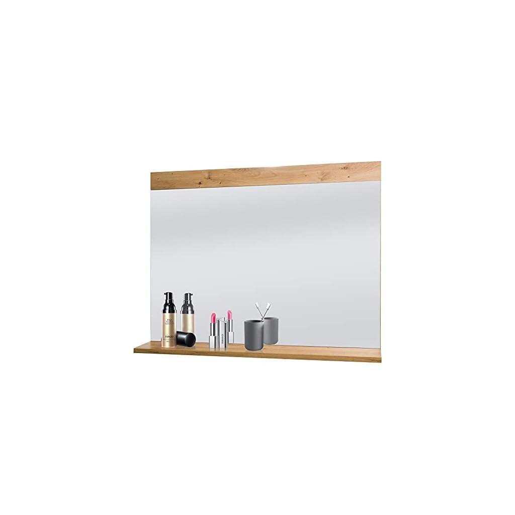 DREAMADE Miroir d'Habillage Mural, Glace Décorative Rectangulaire avec Cadre et Tablette de Rangement en Bois, pour…