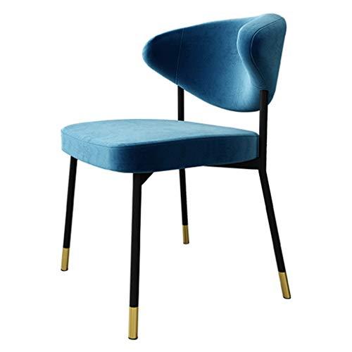 Yuansr Respaldo Silla Moderno Restaurante de la casa Hotel de Ocio Silla Silla de Maquillaje Minimalista con Franela Suave y Silla de recepción de Metal (Color : Blue)