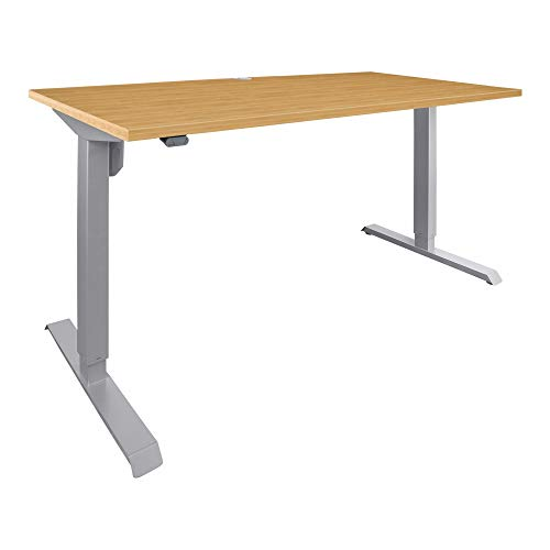 STIER Elektrisch höhenverstellbarer Schreibtisch 501-33, Tischgestell mit Tischplatte 120x80 cm, Buche mel, Ergonomischer Steh-Sitz-Tisch stufenlos verstellbar 68-118 cm