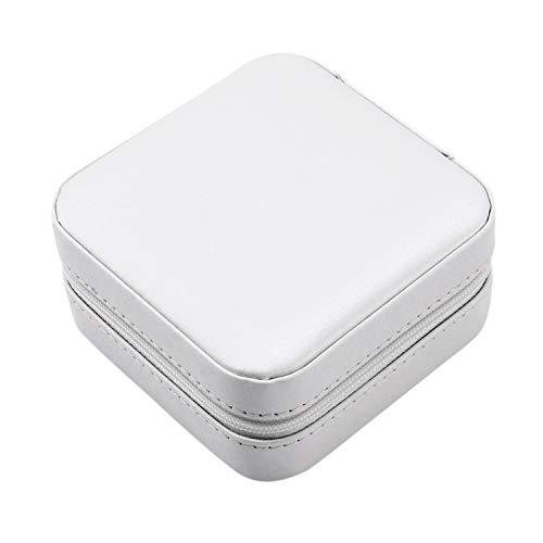 Senmubery Caja de Joyería Portátil Cremallera PU Organizador de Almacenamiento Soporte de Joyería Exhibición de Empaque Viaje Caja de Joyería Cajas de Regalo para Mujeres (Blanco)