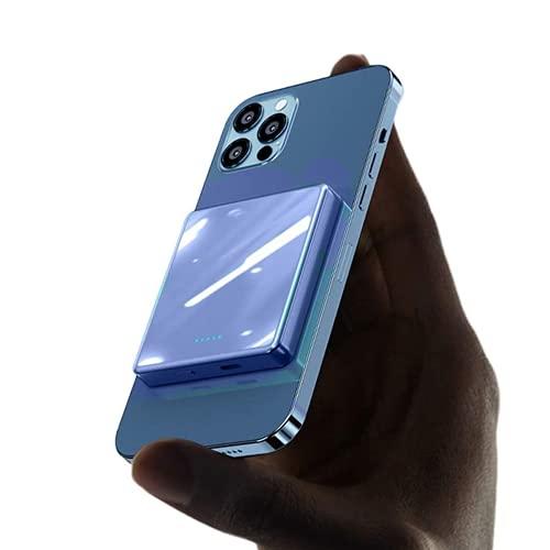 SUYING Banco de energía magnética de 15 W, 10000 mAh, 5000 mAh, 20 wpd, cargador de teléfono móvil, utilizado para energía de respaldo, compatible con iPhone 12/12mini/Pro/Max (10000 mAh, azul)