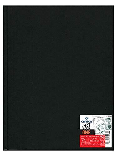 Canson Art Book One - Cuaderno de dibujo  que incluye 98 hojas de papel de dibujo de 100gsm, 21.6 x 27.9 cm, color negro, 1 unidad
