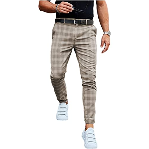 Pantalones Casuales Moda Midweight Men's Business Slim Fit Plaid Imprimir Pantalones Largos Pantalones (Color : Khaki, Size : M)
