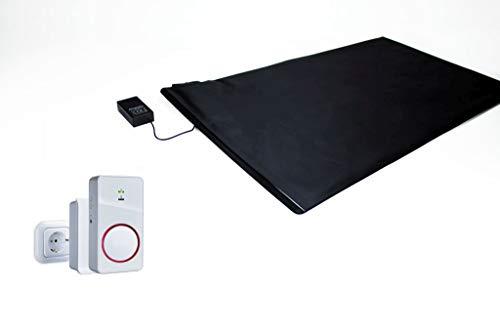 Pratoline Funk-Alarmtrittmatte - mit Akku Funkempfänger Netz und Mobil - 70cm x 40cm - Pflegehilfe - Demenz Sturzprävention