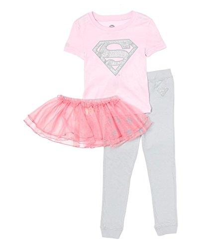 DC Comics Baby Girls Supergirl Super Shiny Ballet Tutu Cotton Pajama Set, Multi, 12MO