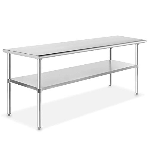 Metal Kitchen Work Table with Adjustable Table Foot Antirust Scratch Resistent Stainless Steel Work Table,30 X 60Inchs