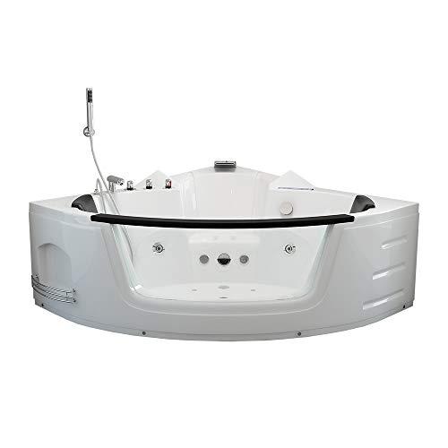 Home Deluxe - Whirlpool Badewanne - Laguna L weiß mit Heizung und Massage | Eckwanne, 2 Personen, Indoor Jacuzzi (140x140x65cm)
