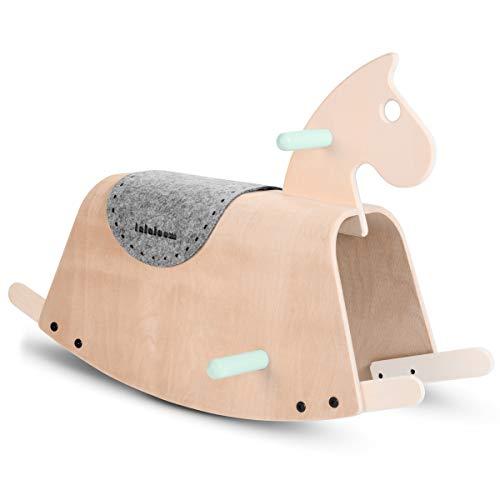 Lalaloom SITTER - Caballito balancín para bebe de madera natural (diseño caballo mecedora, juguete para equilibrio por niños), 73x36x45 cm, color Verde