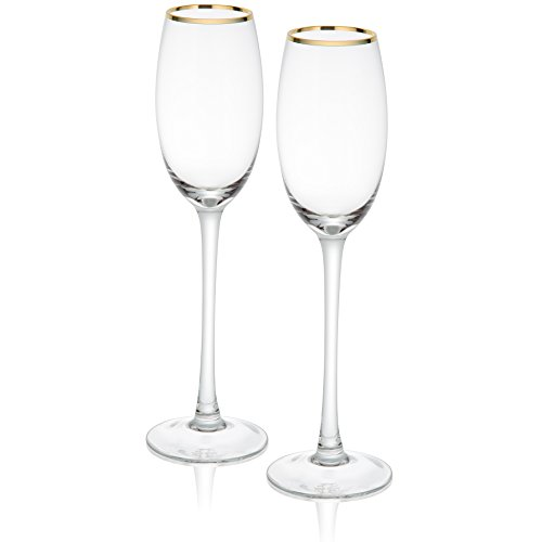 Trinkware Empire Gold Rimmed Set of 2 Champagne Flutes - Long Stem, 9oz, 10.75-inches Tall - Elegant Glassware And Stemware
