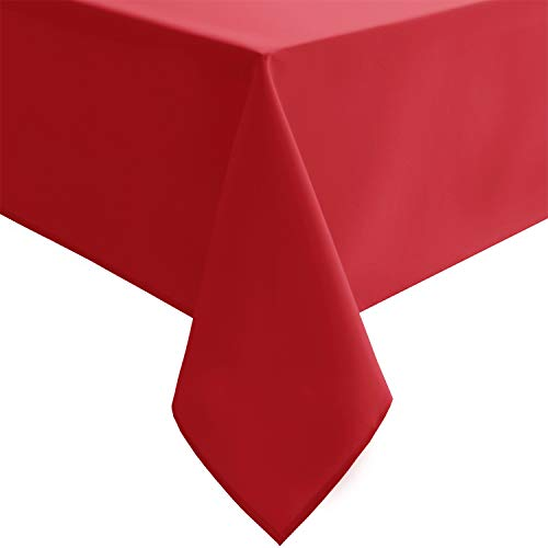 Hiasan Red Tablecloth Square - Wateproof and Spillproof Kitchen Christmas Washable Polyester Table Cloth for Dining Room, 54 x 54 Inch