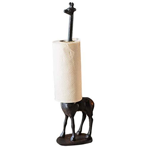 LIUSHI Decoración del hogar Estatua de Jirafa, Escultura de Estatua de Jirafa de Hierro Fundido, Decoración de Escritorio de Oficina, Soporte de pañuelos Balcón Almacenamiento de comestibles H47CM