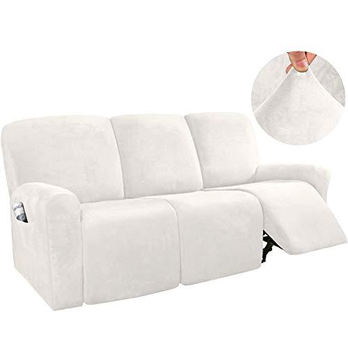 YRRA Stilvoll 3-Sitzer Sofabezug, Super Weich Samt Couchbezug Waschbar Sofa Schutzhülle, Geeignet für die meisten Arten von Liegen,Weiß