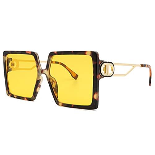 FDNFG Gafas de Sol cuadradas Gafas de Moda para Mujer Classic Retro Gafas de Sol Mujeres Sexy Eyewear Unisex Shades Gafas de Sol (Lenses Color : Yellow)