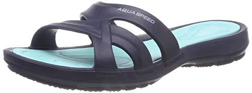 Aqua Speed Damen Panama Pool Hausschuhe,Marineblau / Türkis,39 EU