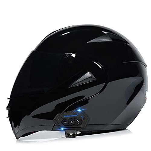 Casco Bluetooth Visera abatible Lente Dual Dot Cool Casco de Motocicleta Cascos de Motocicleta modulares de Cara Completa,E,XL
