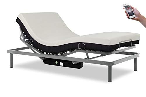 Gerialife® Cama articulada con Mando inalámbrico y colchón viscoelástico 20 cm. Plateado (90x190)