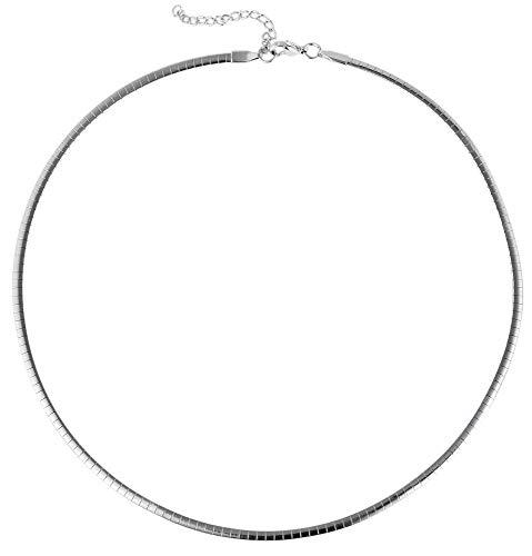 Akzent Edelstahl Omega Halsreif Omegakette Reif Silberfarbig 2300000032 Kettenlänge 45 cm + 5 cm Verlängerung