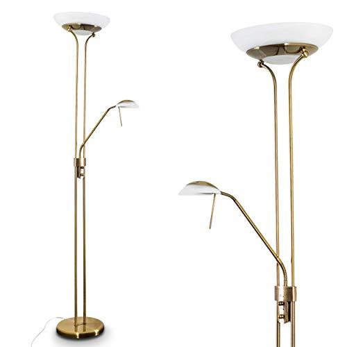 LED Stehlampe Biot, moderne Stehleuchte aus Metall in Altmessing, 18 u. 5 Watt, 1620 u. 450 Lumen, Lichtfarbe 3000 Kelvin, Standleuchte mit Dimmer u. verstellbarem Lesearm, mit Fußschalter am Kabel