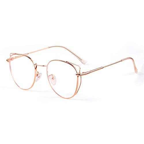 SaNgaiMEi Gafas Luz Azul - Marco de Metal Gafas Ordenador Luz Azul Mujer Cat Eye Gafas Anti Tensión de Ojos (Oro rosa)