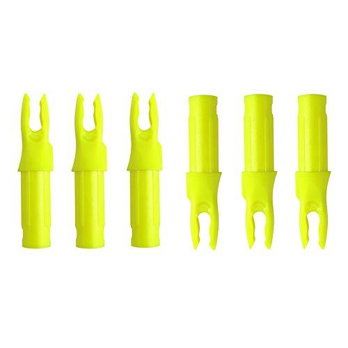 SHARROW 100pcs Culatines de Flecha de Plástico para Tiro con Arco Flecha Nocks para ID 6.2mm Ejes de Flecha de Carbono (Amarillo)
