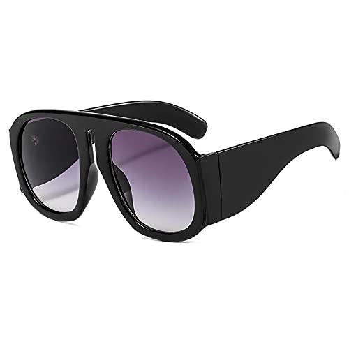Gafas De Sol Gafas De Sol Cuadradas De Moda para Mujer, Nuevas Gafas De Sol Steampunk Coloridas Vintage para Hombre, Gafas Retro Punk, Tonos Uv400, C1, Negro Y Gris