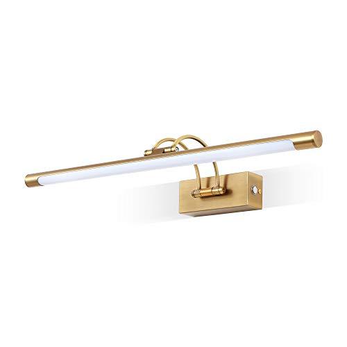 MantoLite Aplique de pared, espejo de baño, cabezal de lámpara giratorio regulable, luz LED para restaurante, lámpara de lectura de noche con luz blanca cálida de 3000 K (latón mate, 60 cm)