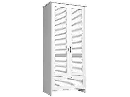 Furniture24 Kleiderschrank Orient S2D, 2 Türiger Drehtürenschrank, Schrank mit Kleiderstange und Schublade