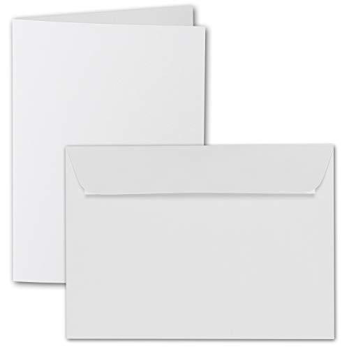 ARTOZ DIN A6 vouwkaartenset met enveloppen - 105 x 148 mm - geribbelde knutselkaarten blanco met enveloppen - 220 g/m2 50 Sets 211, wit.