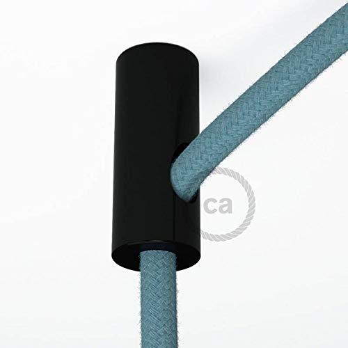 Kit de décentralisation, crochet au plafond noir pour câble électrique textile avec arrêt.