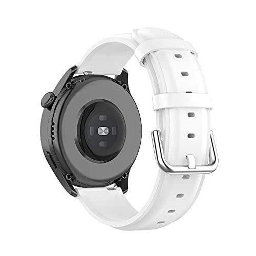 BoLuo 22mm Correa para Huawei Watch3/Huawei Watch 3 Pro,Bandas Correa Repuesto,Piel Genuina Reloj Recambio Brazalete Correa Repuesto para Huawei Watch GT2 Pro/watch GT 42mm/46mm/GT2 46MM (blanco)