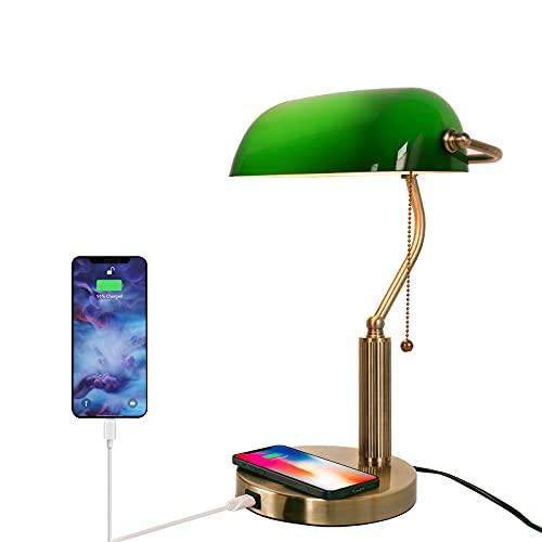 FIRVRE Lámpara de Escritorio Bankers-de Vidrio Verde con Cargador Inalámbrico y Puerto USB,Lámpara de Mesa Vintage,Interruptor de Cadena de Tracción,Enchufar,para Oficina Biblioteca Sala de Estudio