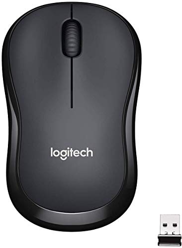 Logitech M220 Wireless Mouse, Silent Buttons, 2.4 GHz with USB Mini Receiver, 1000 DPI Optical Tracking, 18 Month Battery Life, Ambidextrous PC / Mac / Laptop - Charcoal Grey