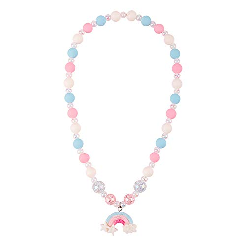 Cartoon Candy Color Child Bead Ball Choker Rainbow Snowflake Charm Pendant Necklaces for Children Girls Delicate Safe Toy Jewelry-B Rainbow