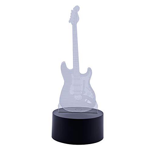 NEYOANN Nuevo 3D Guitarra EléCtrica Luz Nocturna 7 Color LED Cambiar Interruptor TáCtil Mesa LáMpara de Escritorio Arte Luz Regalo de Navidad San ValentíN NiiOs Regalos DecoracióN